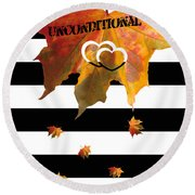 Fall Leaf Love Typography On Black And White Stripes Round Beach Towel