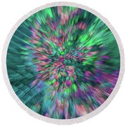 Fall Leaf Zoom Abstract Round Beach Towel