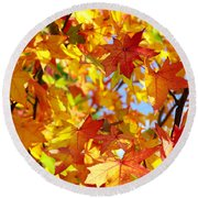 Fall Leaves Background Round Beach Towel by Carlos Caetano