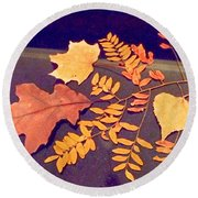 Fall Leaves On Granite Counter Round Beach Towel
