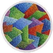 Fall Leaves On Grass Round Beach Towel by Sean Corcoran