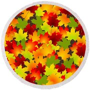 Fall Leaves Quilt Round Beach Towel