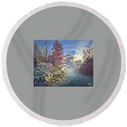 Fall Morning Round Beach Towel