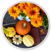 Fall Mums And Pumpkins Round Beach Towel