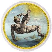 Fall Of Icarus, Greek Mythology Round Beach Towel