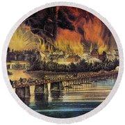 Fall Of Richmond, 1865 Round Beach Towel