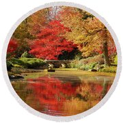 Fall On Fire Round Beach Towel