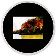 Fall On Grand Lake Round Beach Towel