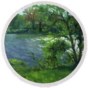 Fall On The Maumee River Round Beach Towel