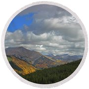 Fall On The Pass Round Beach Towel