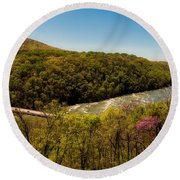 Fall On The Shenandoah River - West Virginia Round Beach Towel