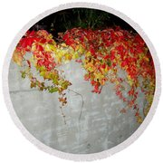 Fall On The Wall Round Beach Towel