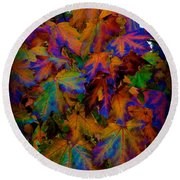 Fall Painting By Mother Nature Round Beach Towel
