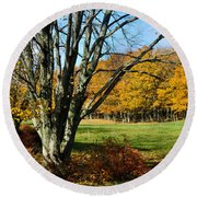 Fall Pasture Round Beach Towel