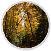Fall Path In Golden Yellow Round Beach Towel