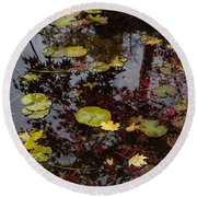 Fall Pond Reflections - A Story Of Waterlilies And Japanese Maple Trees - Take One Round Beach Towel
