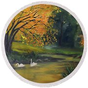 Fall Pond With Swans Round Beach Towel