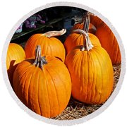 Fall Pumpkins Round Beach Towel