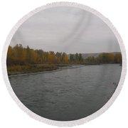 Fall Rains Down On The River Round Beach Towel
