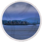 Fall Rainstorm Over Lake Wausau Round Beach Towel