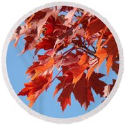Fall Red Orange Leaves Blue Sky Baslee Troutman Round Beach Towel
