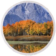 Fall Reflection At Oxbow Bend Round Beach Towel
