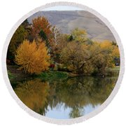 Fall Reflection Below The Hills In Prosser Round Beach Towel
