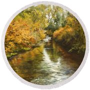 Fall Reflections Round Beach Towel
