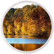 Fall Reflections Of Indiana Round Beach Towel
