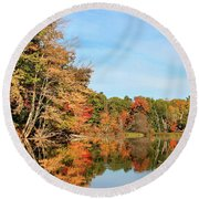 Fall Reflections On Sabattus River Round Beach Towel