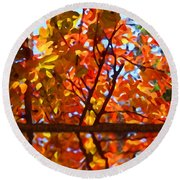 Fall Reflextion Round Beach Towel