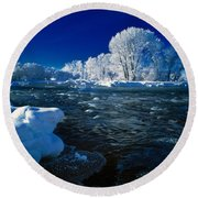 Fall River Winter Round Beach Towel