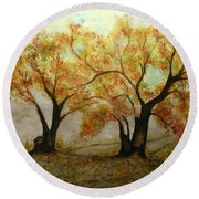 Fall Scene Round Beach Towel