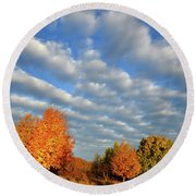 Fall Sunrise Over Hackmatack Nwr Round Beach Towel