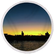 Fall Sunset In Nj Round Beach Towel