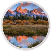 Fall Teton Tip Reflections Round Beach Towel