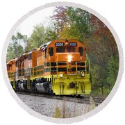 Fall Train In Color Round Beach Towel by Rick Morgan
