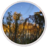 Fall Trees Reflected Round Beach Towel