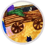 Fall Wagon Ride Round Beach Towel