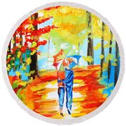 Fall Walk Round Beach Towel