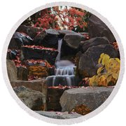 Fall Waterfall Round Beach Towel