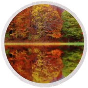 Fall Waters Round Beach Towel