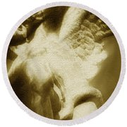 Fallen Angel Vertical Gold Round Beach Towel
