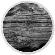 Fallen Black And White Trees And Lines In Nature Round Beach Towel