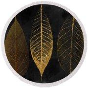 Fallen Gold II Autumn Leaves Round Beach Towel