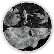 Fallen Leaves Revisited Round Beach Towel