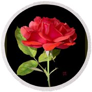 Fallen Red Rose Cutout Round Beach Towel