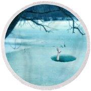 Fallen Through The Ice Round Beach Towel by Jill Battaglia