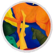 Falling Down. Round Beach Towel