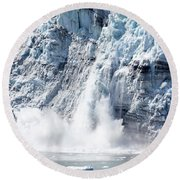 Falling Ice In Alaska Round Beach Towel